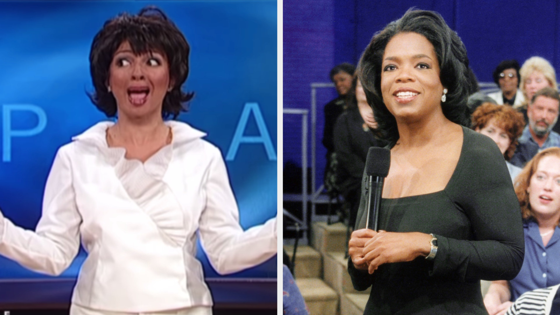 """Maya Rudolph with a short black bob hosting """"The Oprah Winfrey Show"""" on """"SNL"""" side by side with a photo of Oprah"""