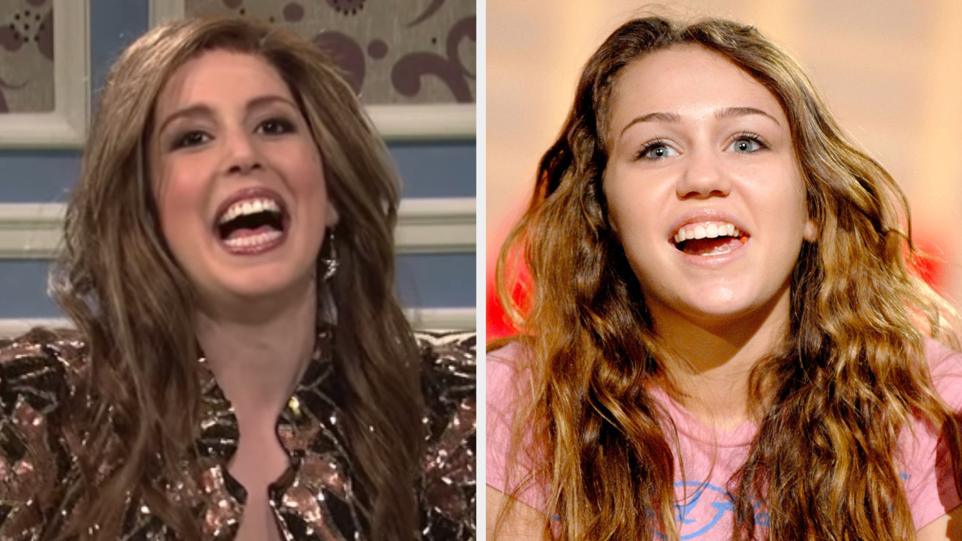 Vanessa Bayer with long brown hair side by side with a young Miley Cyrus