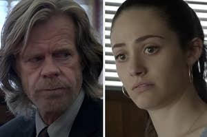 Frank is on the left in court with Fiona on the right as a waitress