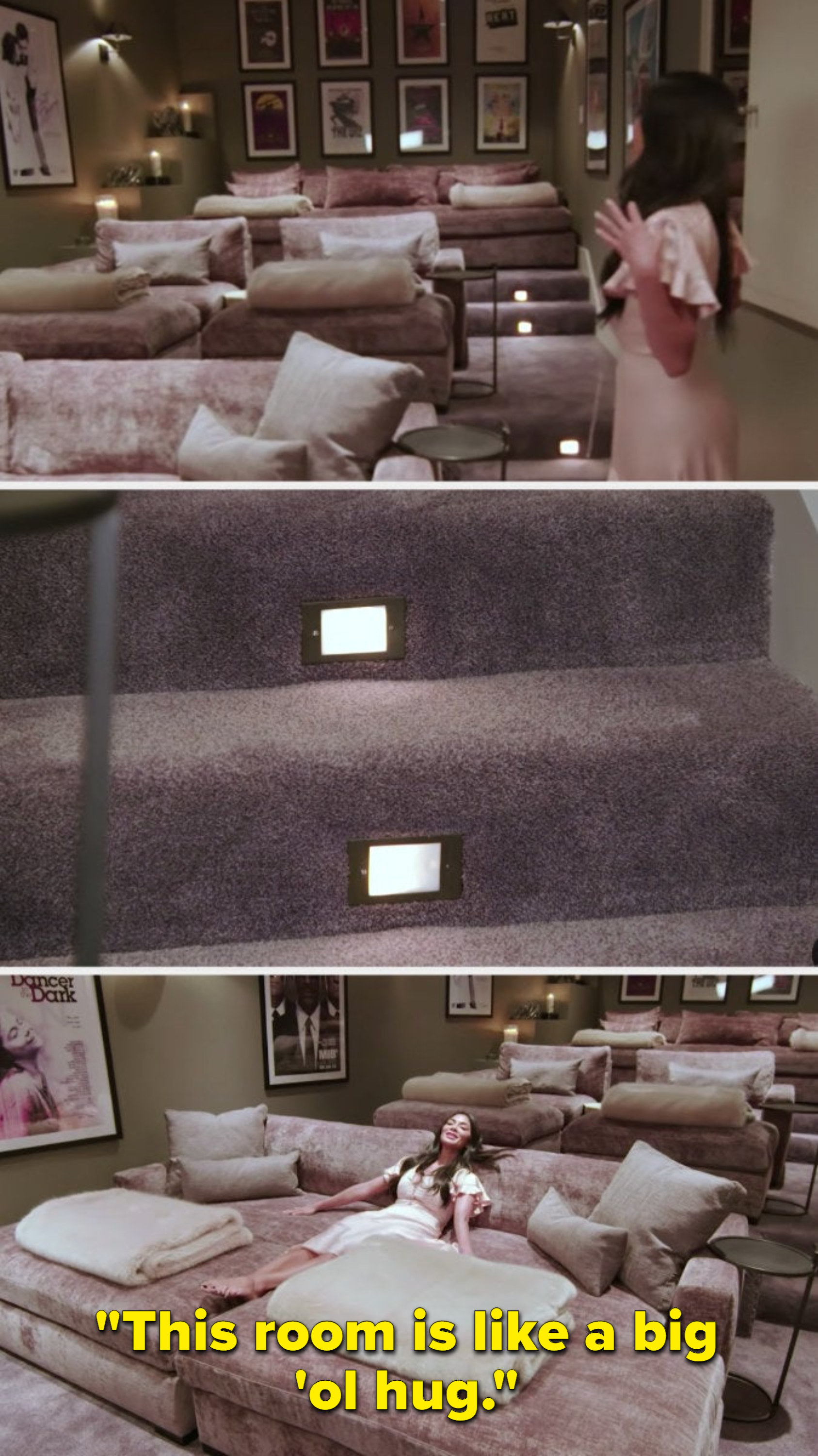 """Nicole sinking into one of the 7 foot long couches in her theater and saying, """"this room is like a big 'ol hug"""""""