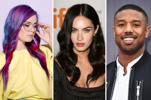 (left) a woman with bi flag colored hair looks through clear glasses off to the bottom right; (middle) Megan Fox looks into the camera; (right) Michael B. Jordan smiles at the camera