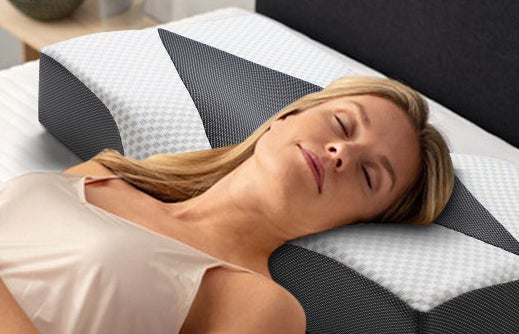 a person sleeping on the pillow