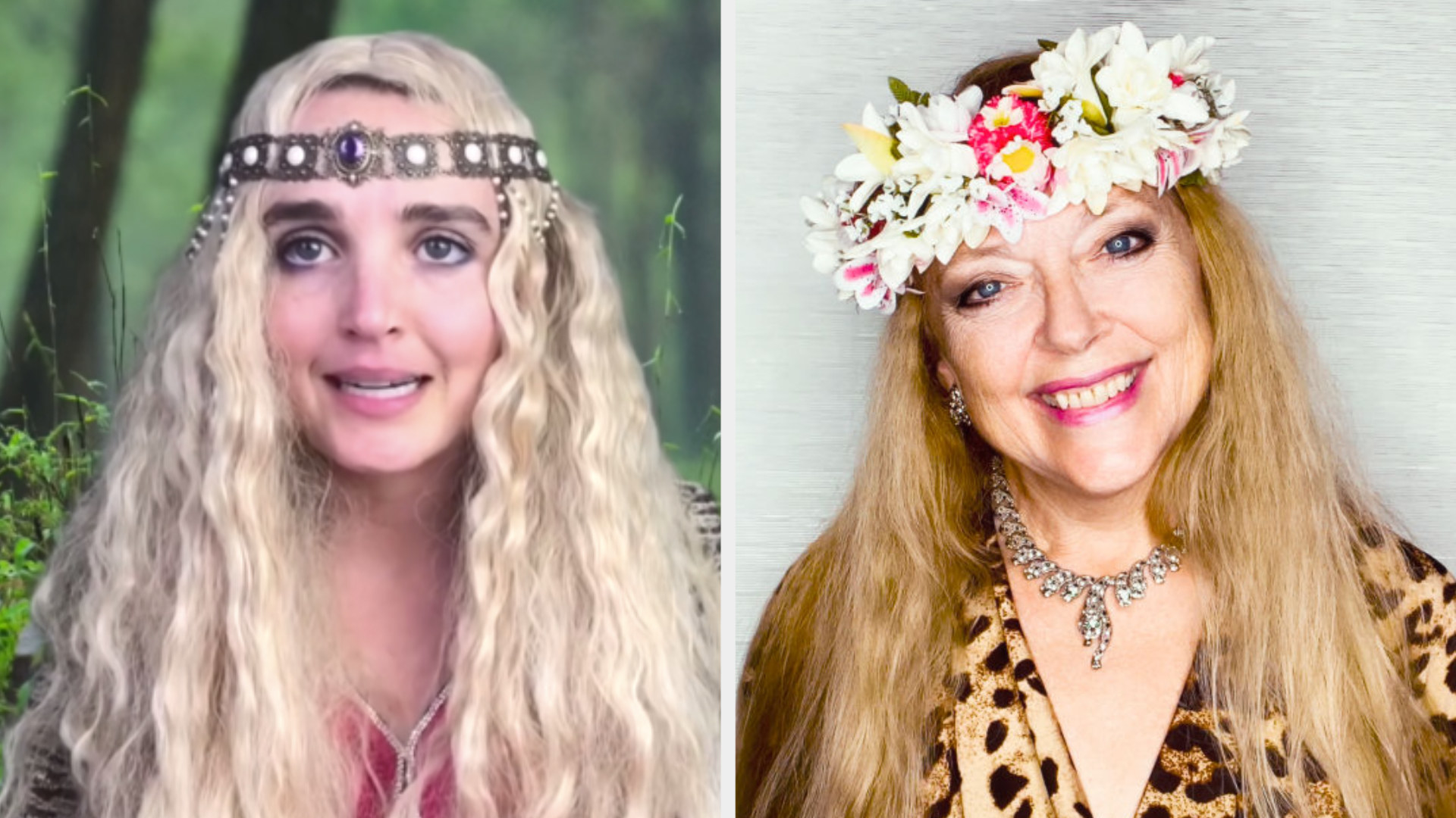 Chloe Fineman in a long blonde wig with a headband across her forehead next to Carole Baskin smiling with a flower crown across her forehead