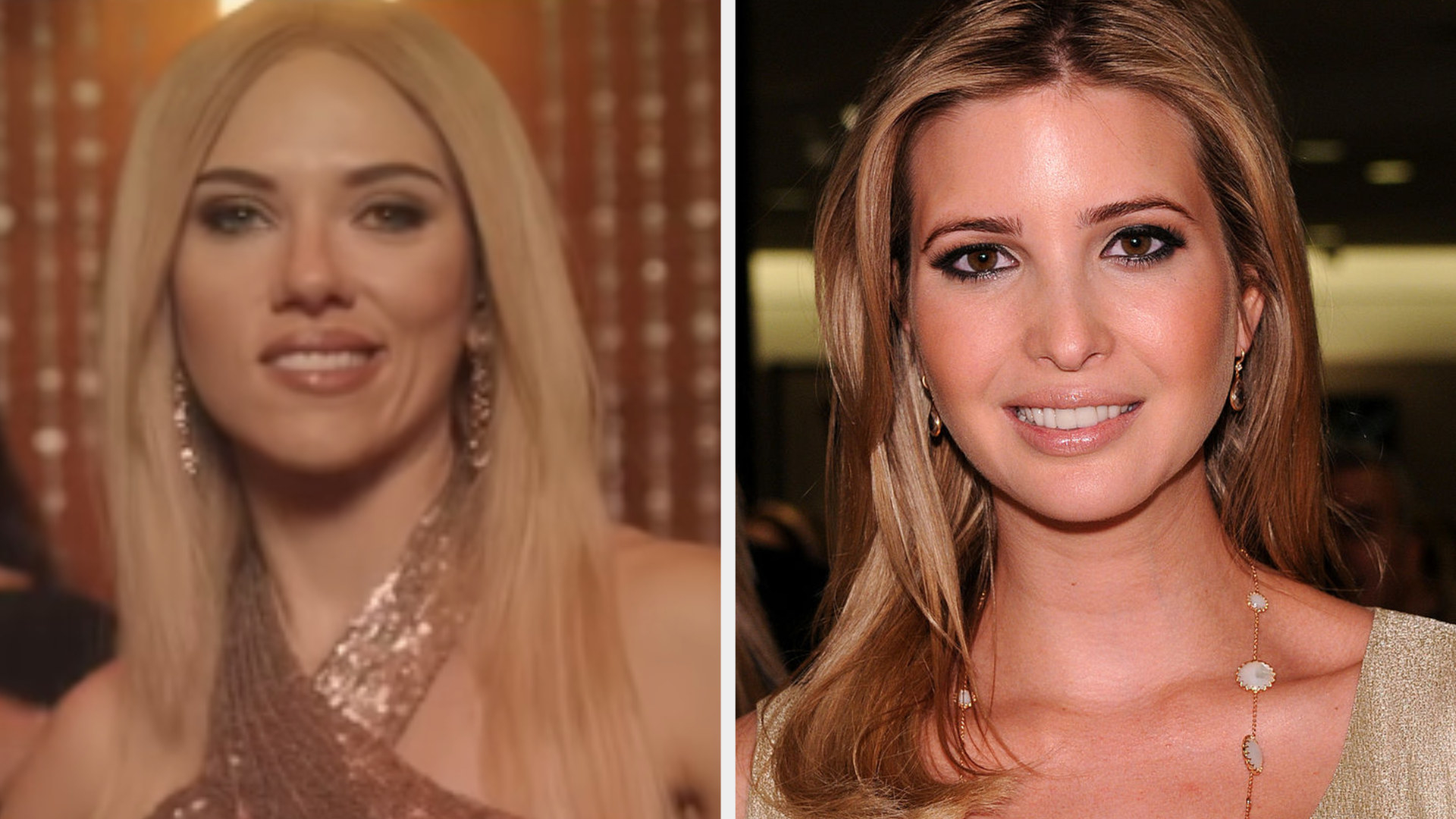 Scarlett Johansson smiling in a blonde wig side by side with Ivanka Trump