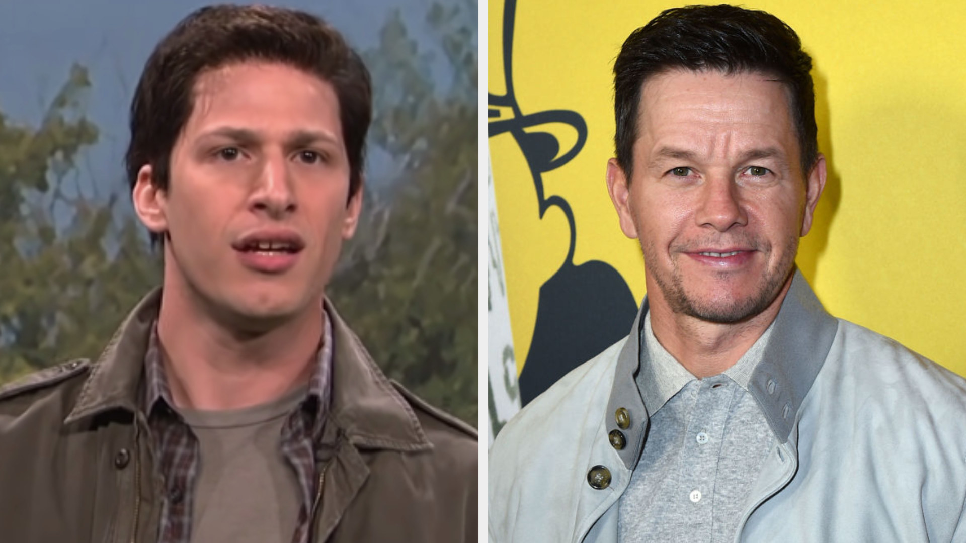 Andy Samberg dressed in a collared shirt under a coat with short brown hair side by side with Mark Wahlberg in a collared shirt under a coat