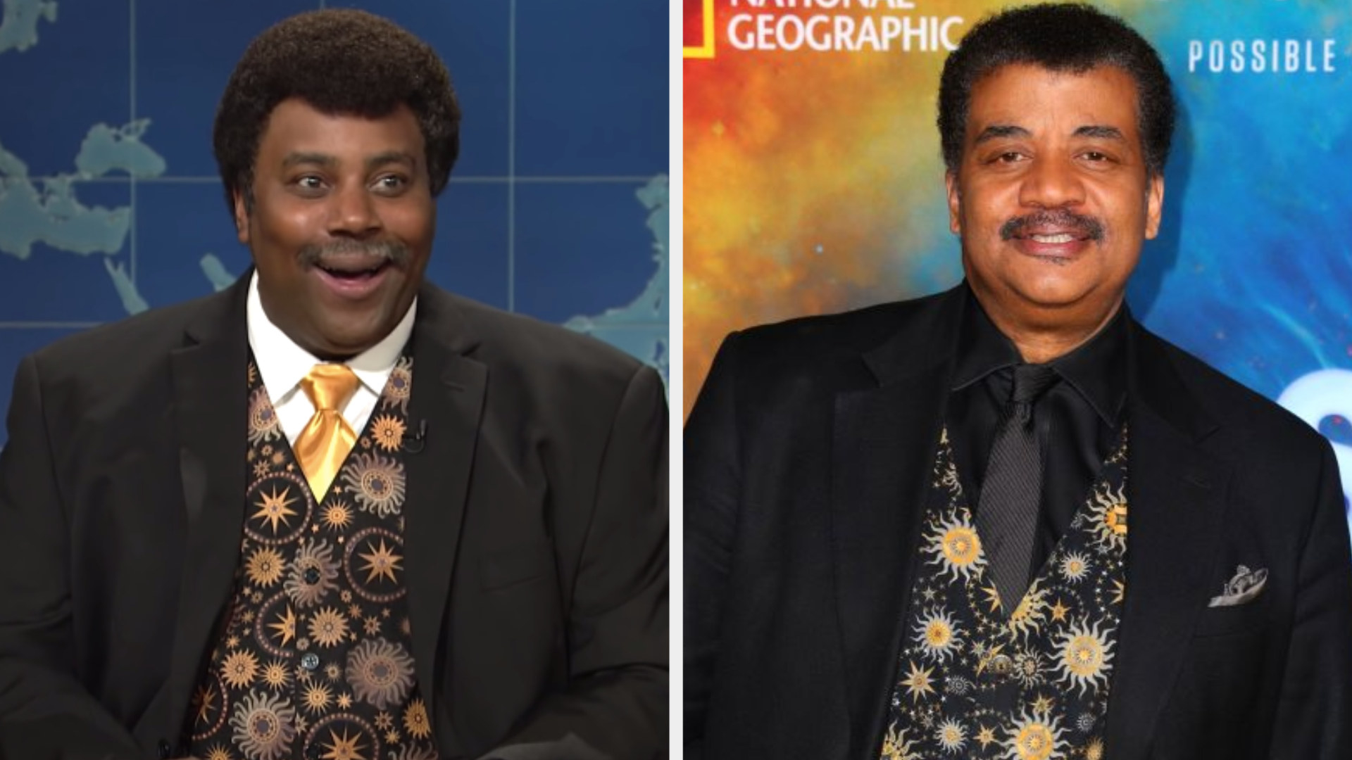 Kenan Thompson wearing a sun and stars vest under a suit jacket side by side with Neil deGrasse Tyson wearing the exact same outfit