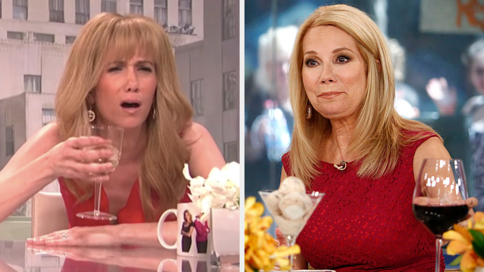 Kristen Wiig drinking a glass of wine in a red dress side by side with Kathie Lee Gifford drinking a glass of wine in a red dress