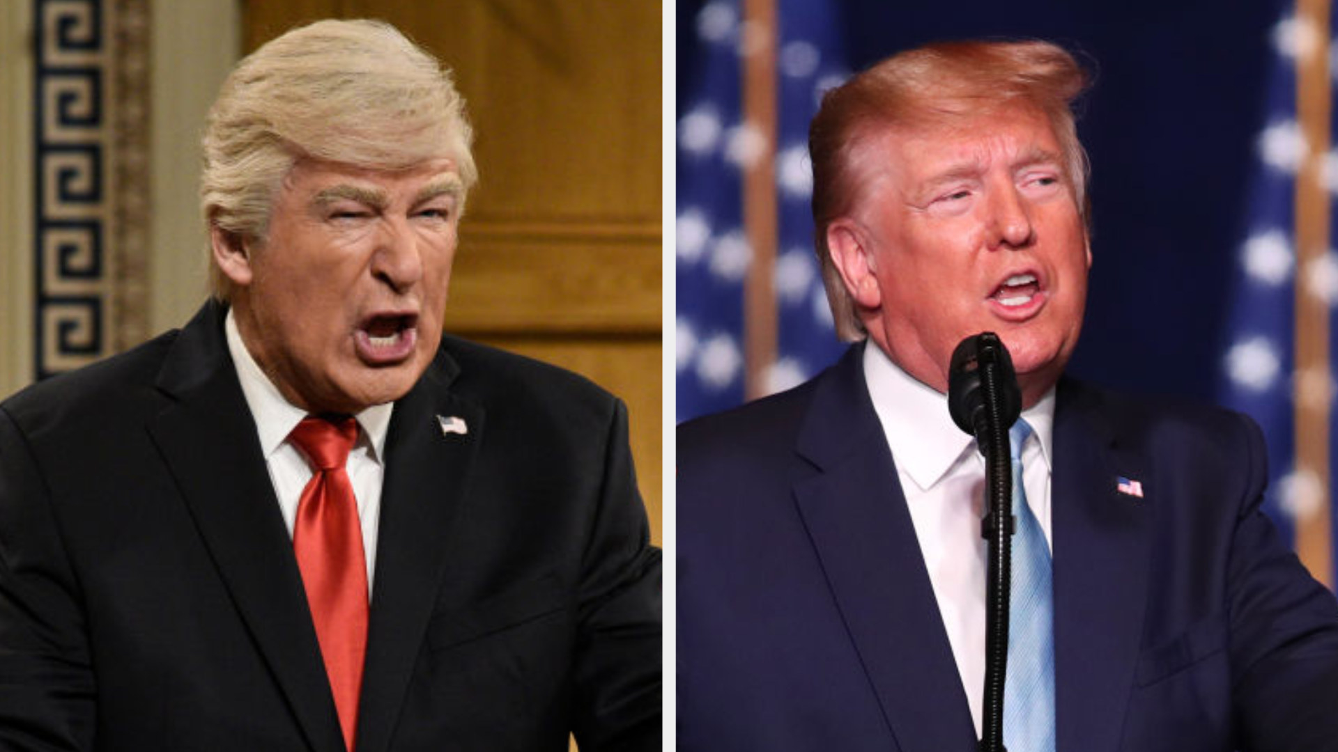 Alec Baldwin in a blonde comb over wig with orange skin side by side with Trump