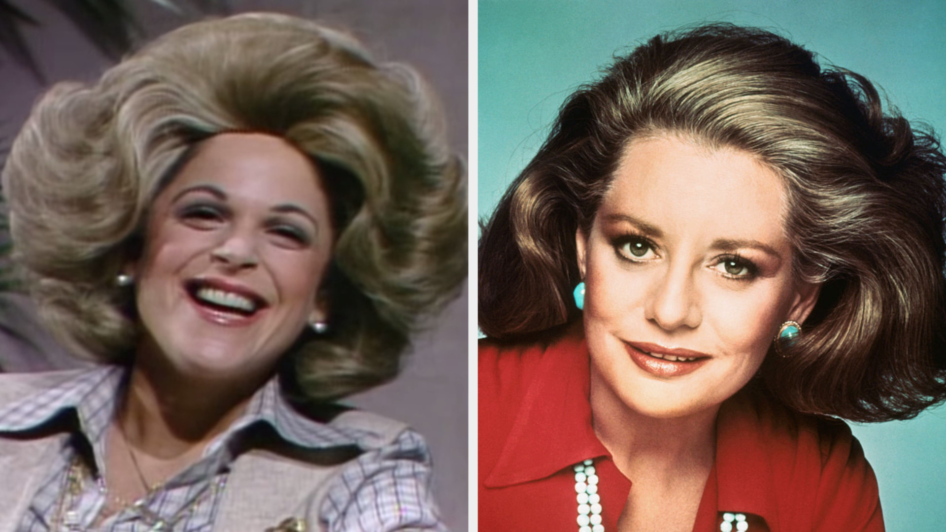 Gilda Radner wearing a voluminous blonde wig side by side with Barbara Walters with similar hair in the '70s