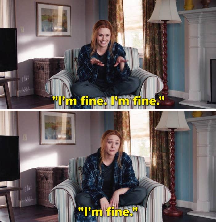 "Wanda repeatedly saying ""I'm fine"" in a scene from WandaVision"
