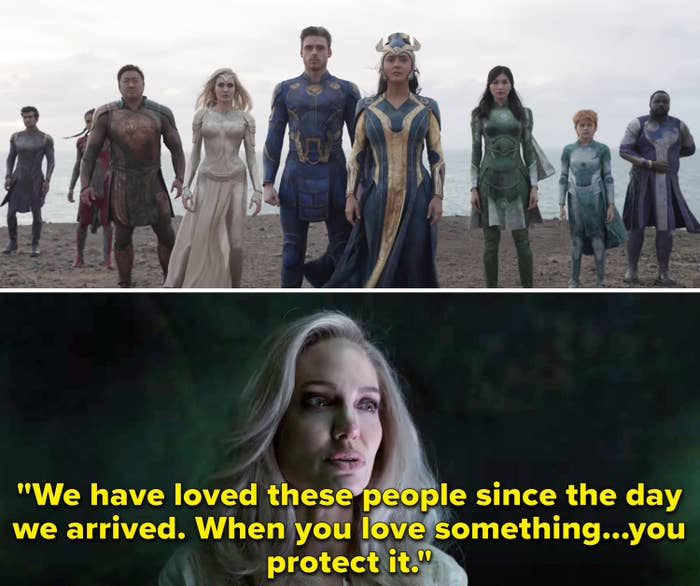 """Angelina Jolie as Thena saying """"We have loved these people since the day we arrived; when you love something...you protect it"""""""