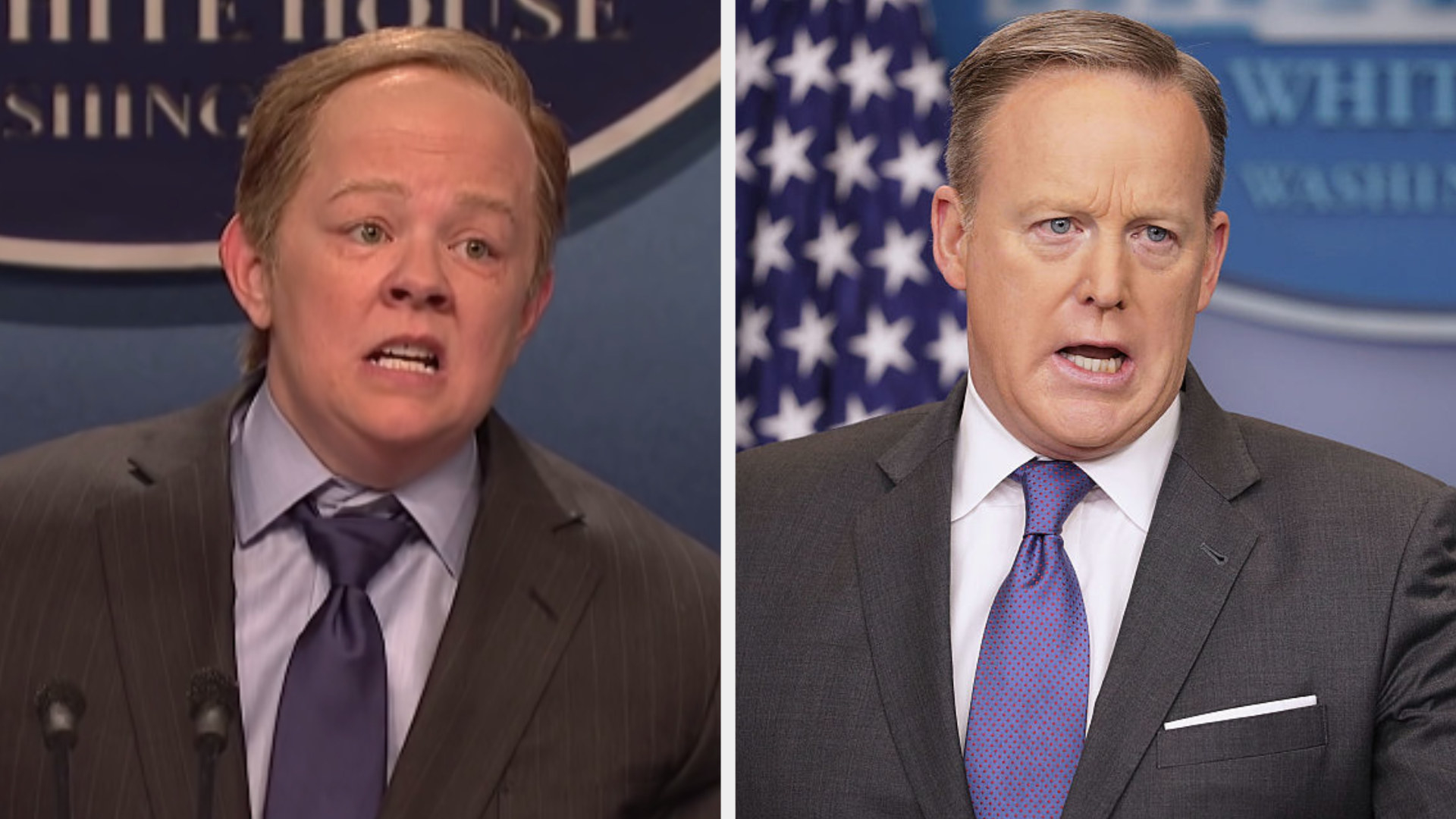Melissa McCarthy with a receding hairline wearing a suit and blue tie side by side with Sean Spicer in the same outfit