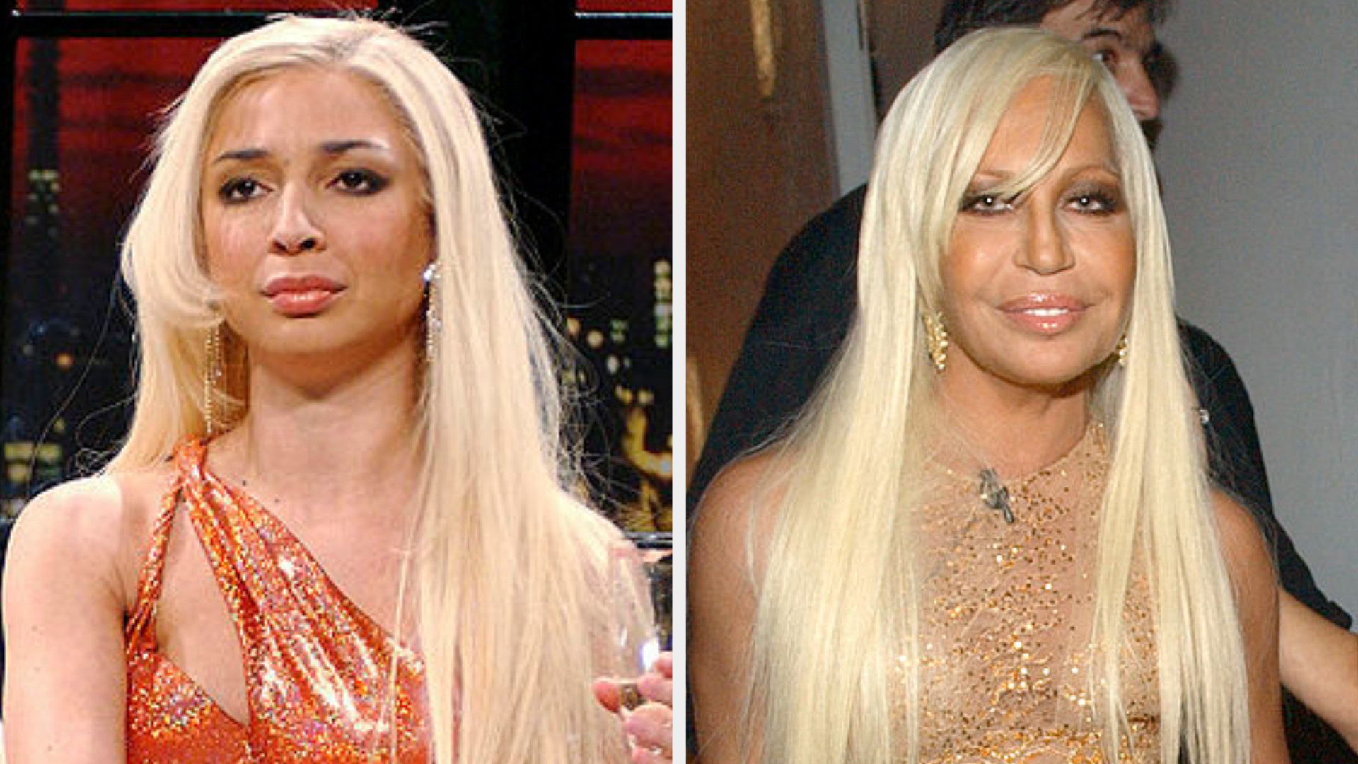 Maya Rudolph in an orange dress with a long blonde wig side by side with Donatella Versace in a similar dress with the same haircut