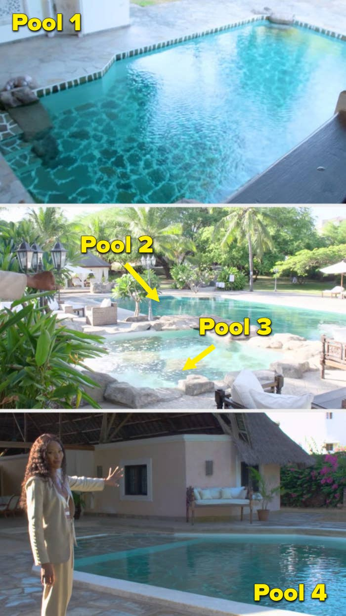 one pool in the living room, two pool in the back courtyard, and another pool in the guest quarters