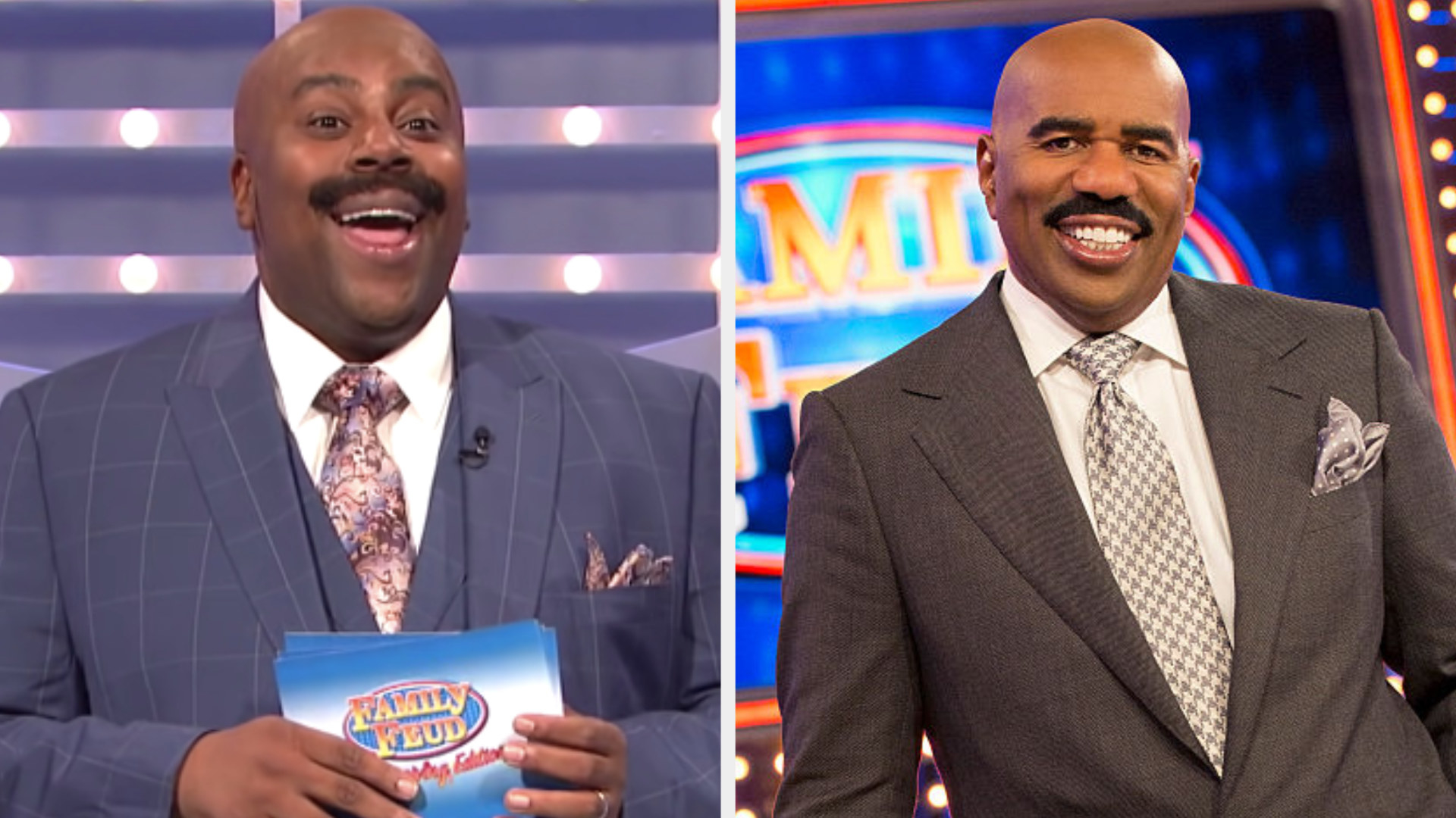 """Kenan Thompson in a bald cap hosting """"Family Feud"""" side by side with Steve Harvey actually hosting """"Family Feud"""""""