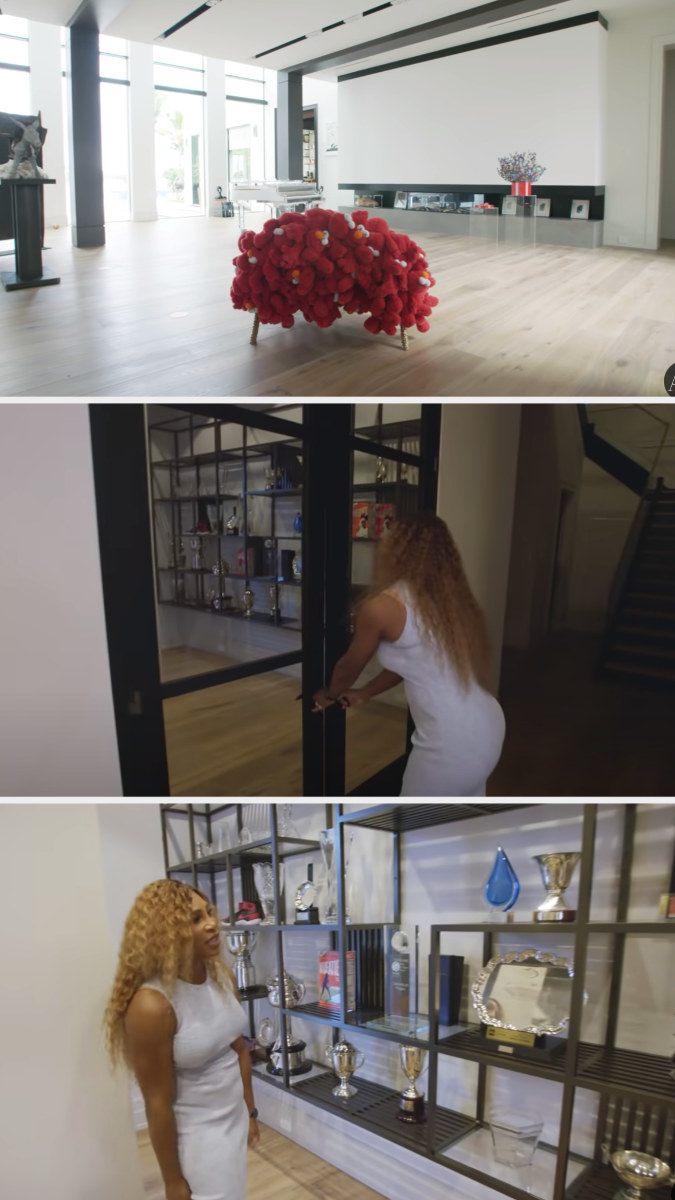 The open floor plan art gallery, looking straight out of a museum, and serena leading us into the trophy room to show off her trophies