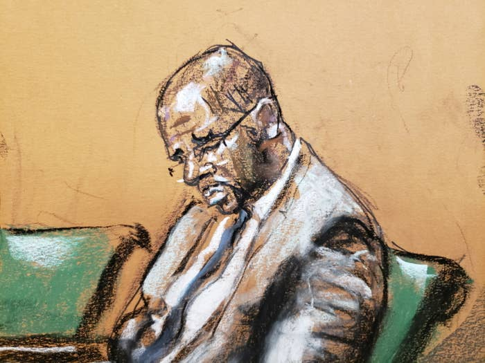 A courtroom sketch of R Kelly