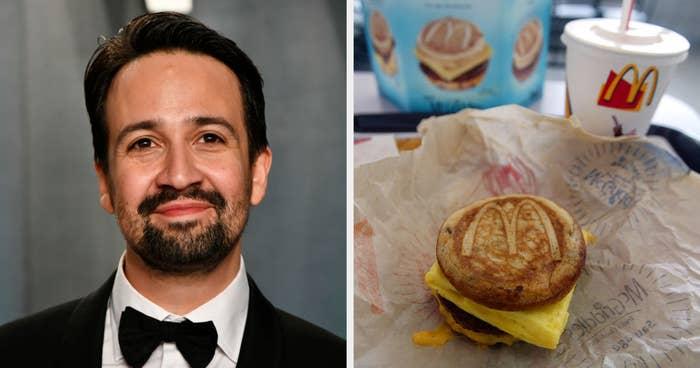 Lin-Manuel Miranda side by side with a breakfast sandwich and soda from McDonald's