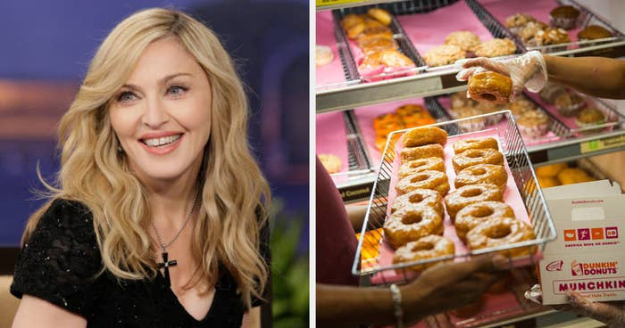 Madonna side by side with a donut tray from Dunkin'