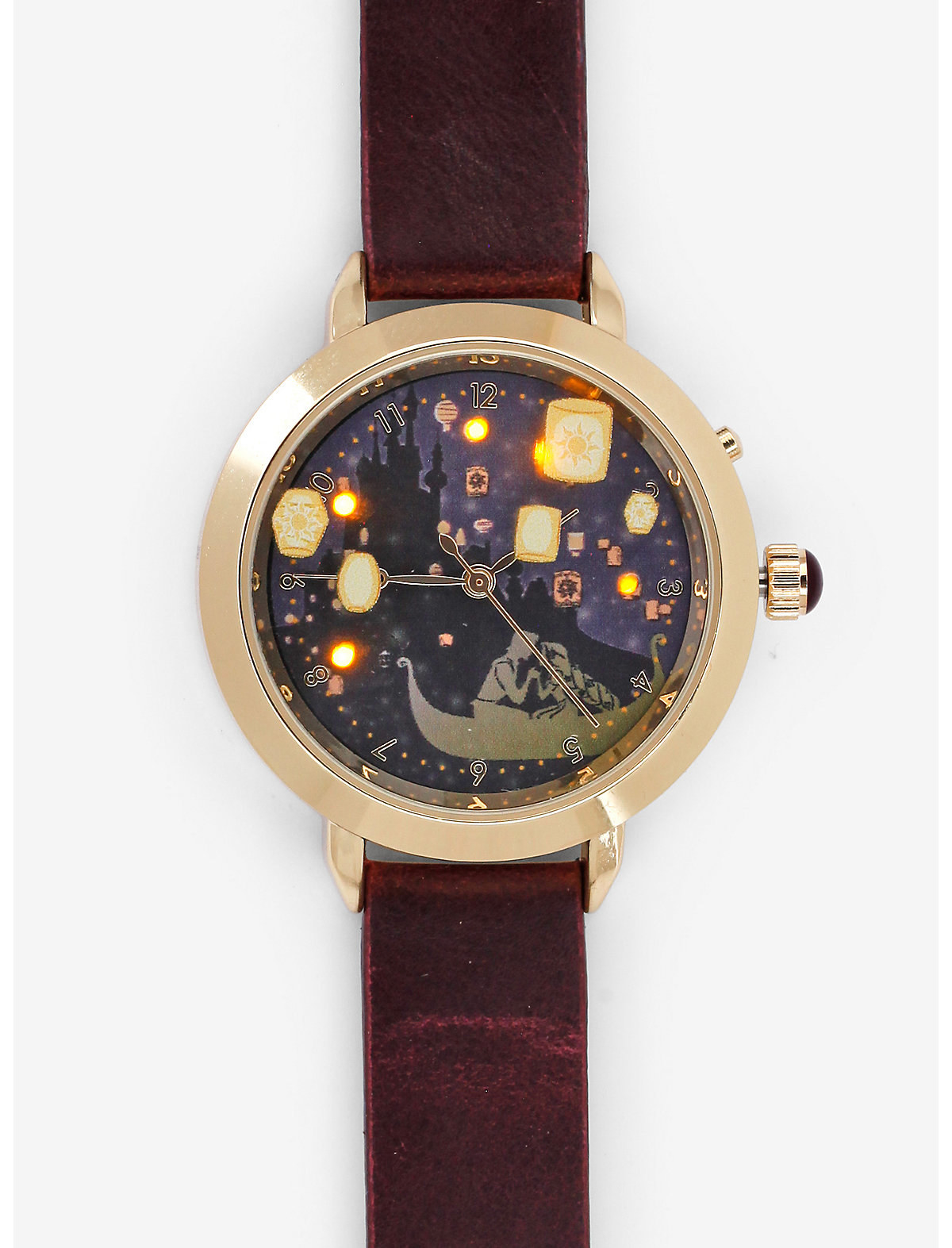 a wrist watch with the lantern scene from tangled inside the face and light up lanterns