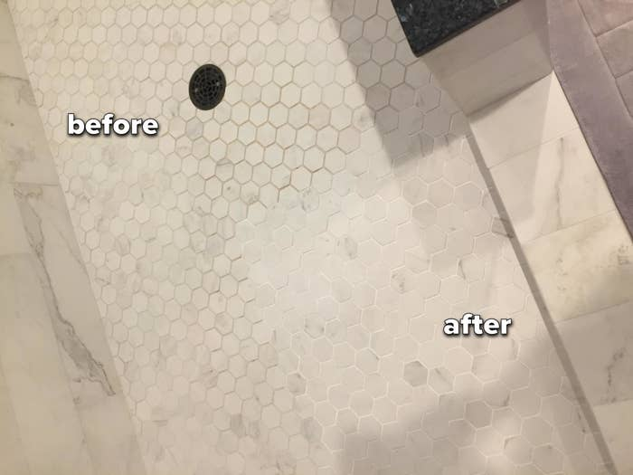 reviewer's bathroom tiles showing white grout next to unpainted, brown grout