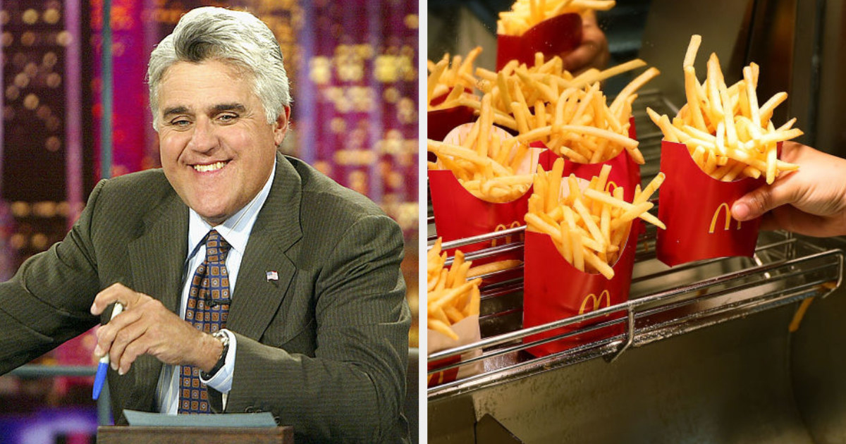 """Jay Leno on """"The Tonight Show"""" side by side to a McDonald's employee reaching for fries off the rack"""