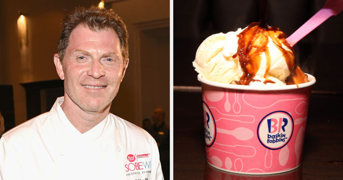 Bobby Flay in a chef coat side by side with a Baskin-Robbins sundae