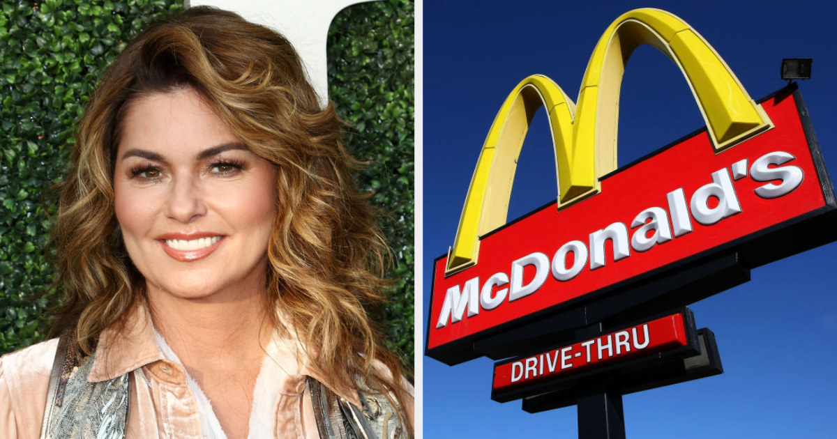 Shania Twain side by side with the golden McDonald's arches