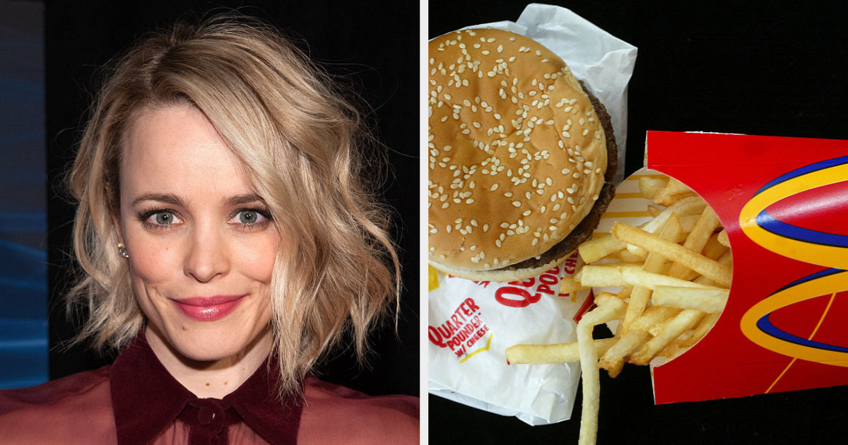 Rachel McAdams side by side with a quarter pounder and fries from McDonald's