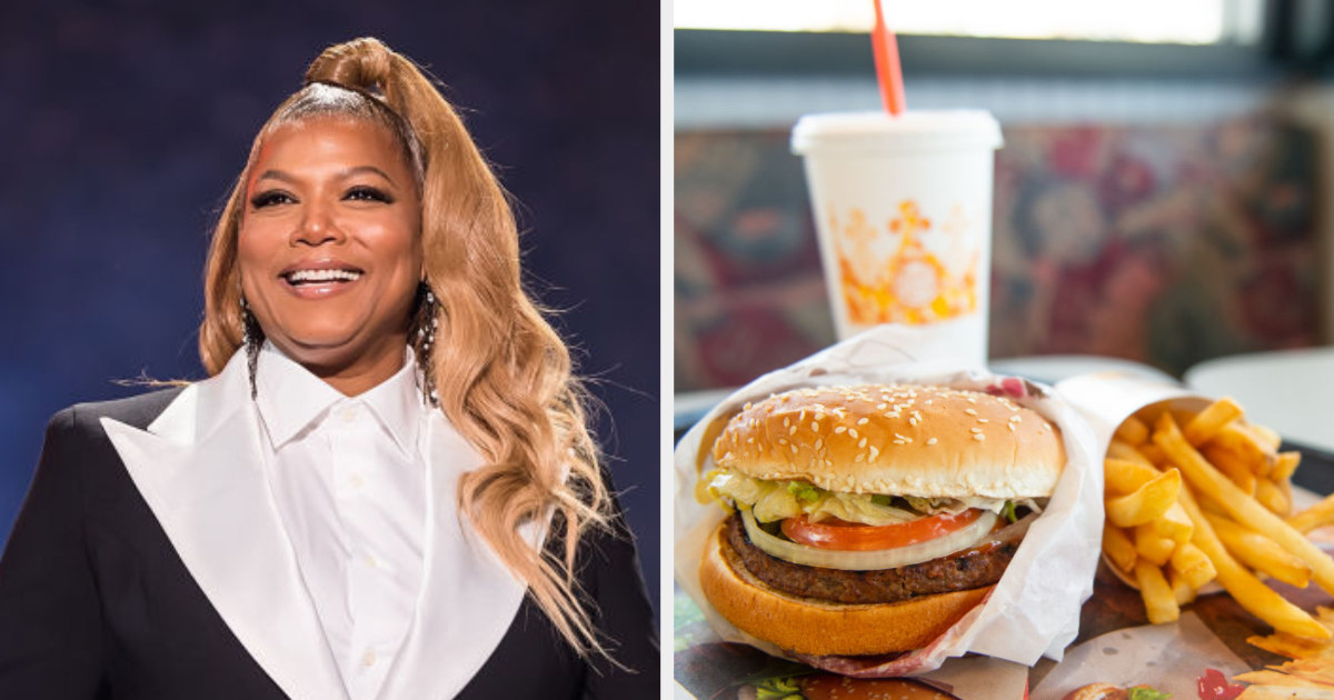 Queen Latifah side by side with a burger, fries, and drink from Burger King