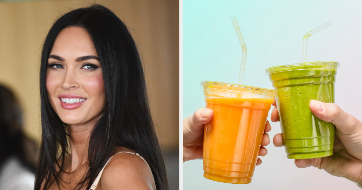 Megan Fox side by side with two smoothies in plastic cups