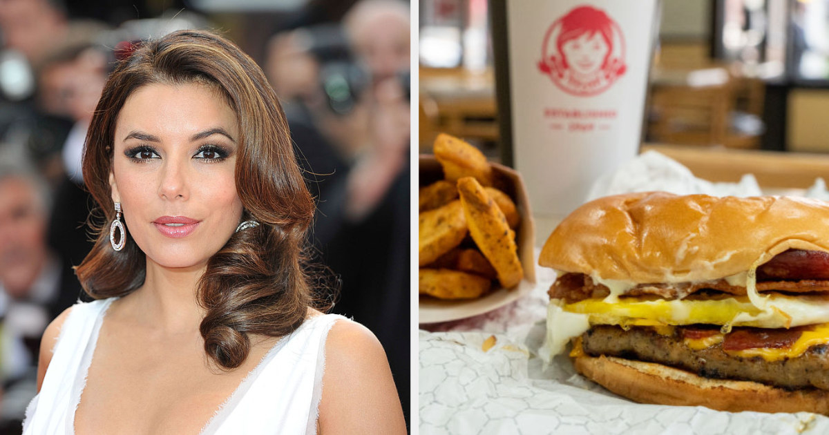 Eva Longoria side by side with a Wendy's meal