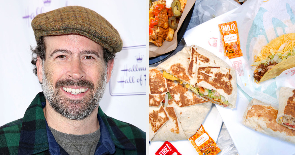Jason Lee side by side with a Taco Bell meal consisting of burritos, tacos, and a crunch wrap supreme