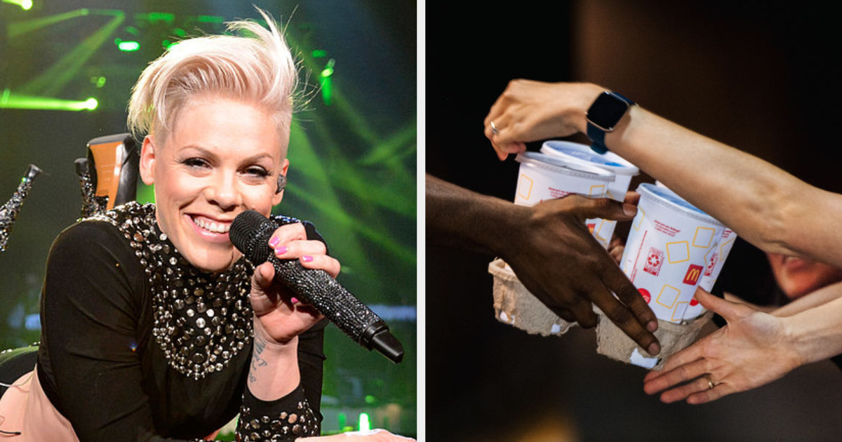 Pink on stage side by side with a McDonald's employee handing a drink tray to a drive-thru customer