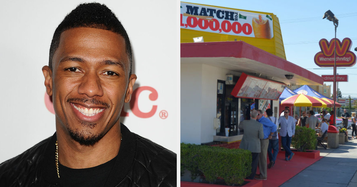 Nick Cannon side by side with the take-out window at Wienerschnitzel