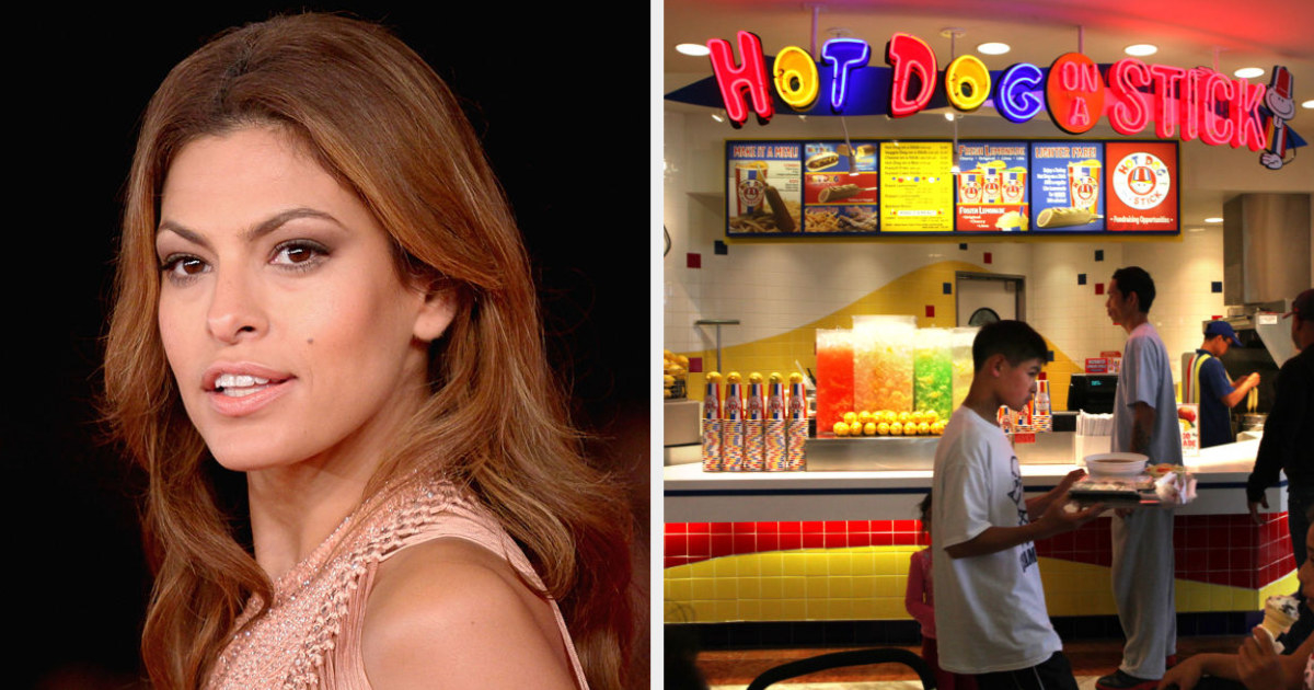 Eva Mendes side by side with the Hot Dog on a Stick food court store front