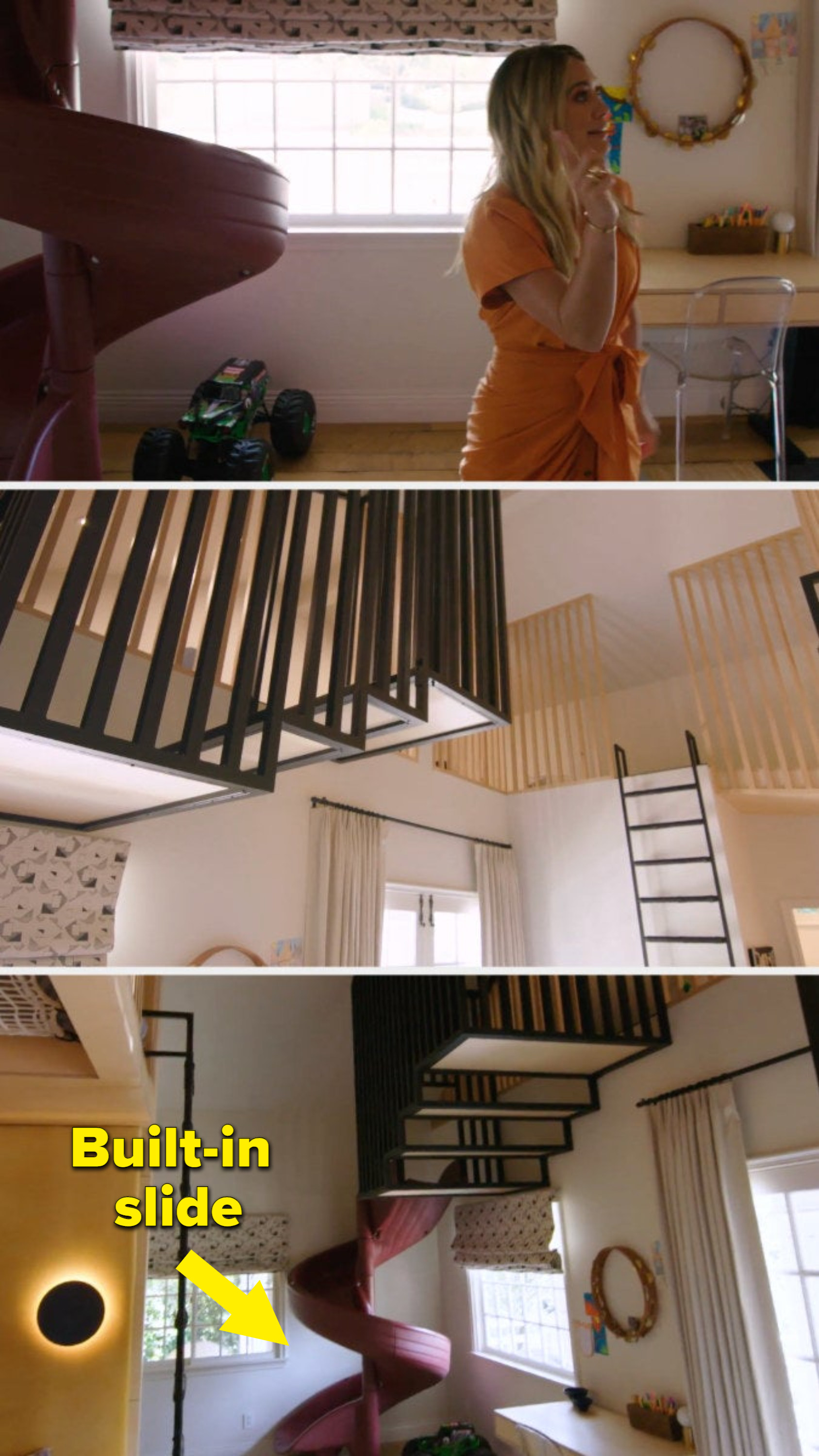The bedroom, with a built in slide, play net, and ladder to a bunch of different loft spaces