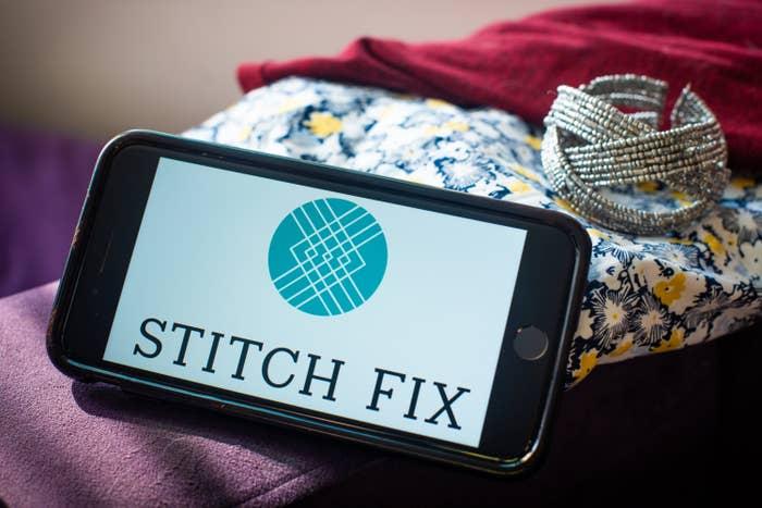 The Stitch Fix logo on a smartphone