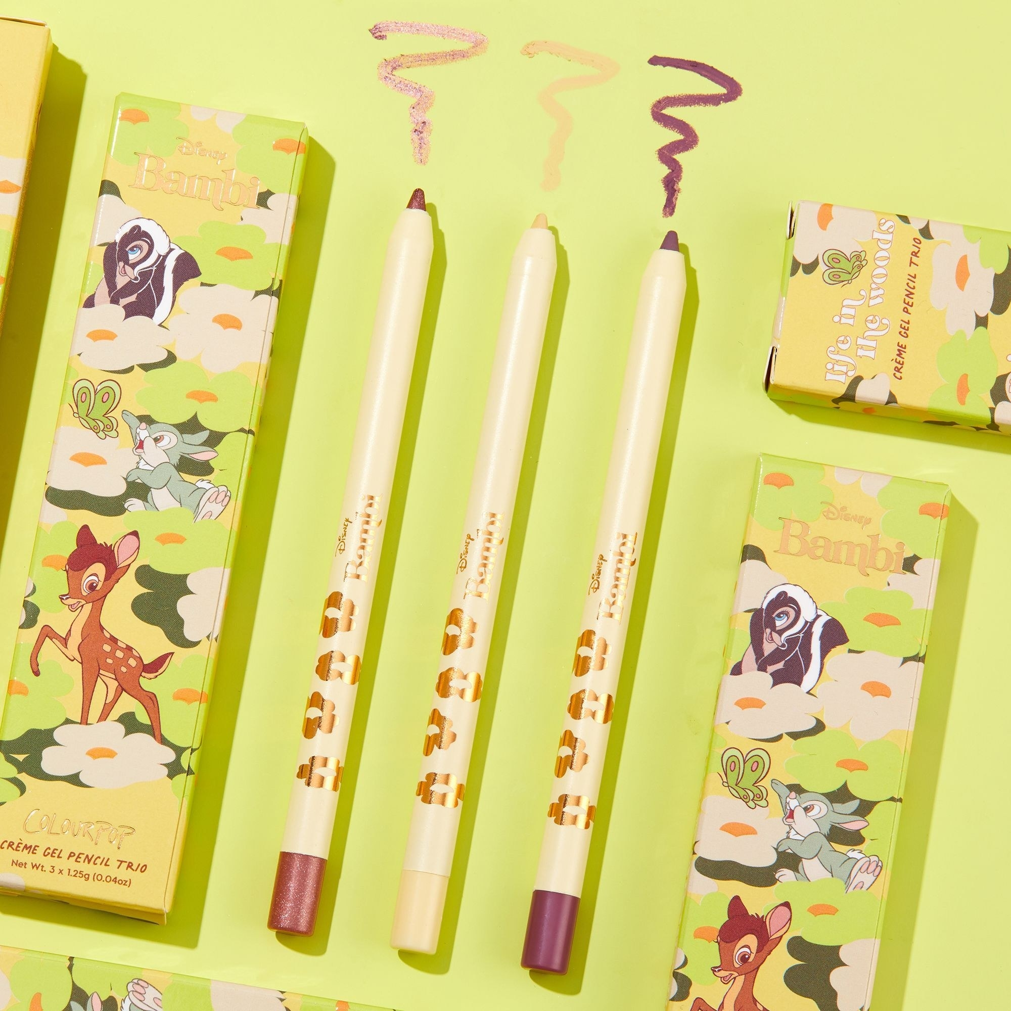 the set of liners with spring-themed packaging with bambi, flower, and thumper
