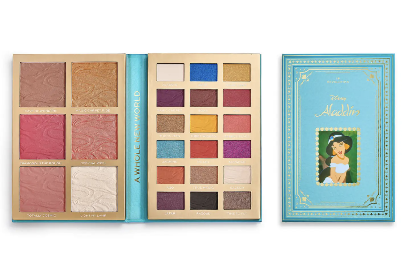 the makeup palette that looks like a storybook with aladdin on it