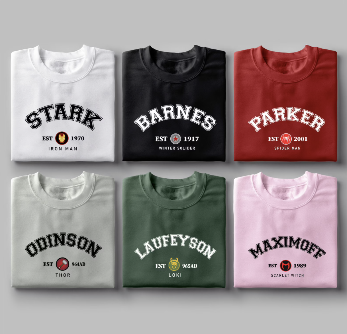 """Sweatshirts with different Marvel characters' last names and """"EST"""" with the year on them"""