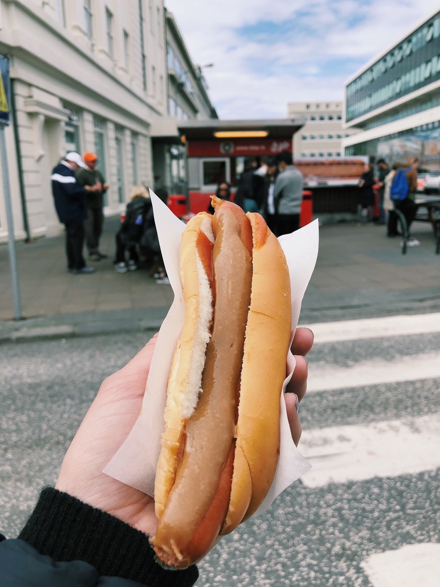 A hot dog from a street cart in Reykjavik