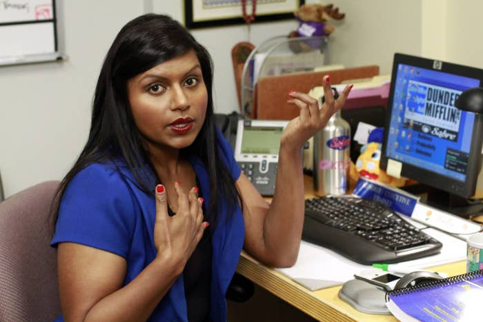 Mindy looks offended while portraying Kelly in the office
