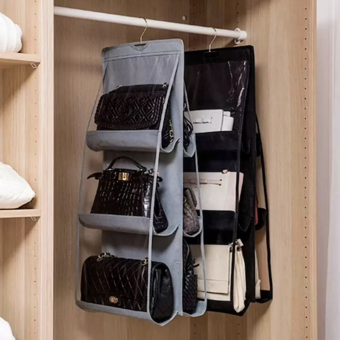 Two purse hangers are shown in a closet