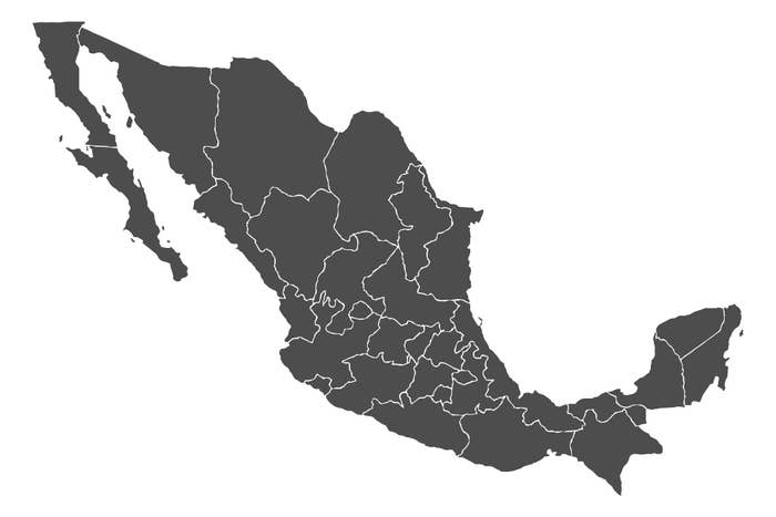A blank map of Mexico