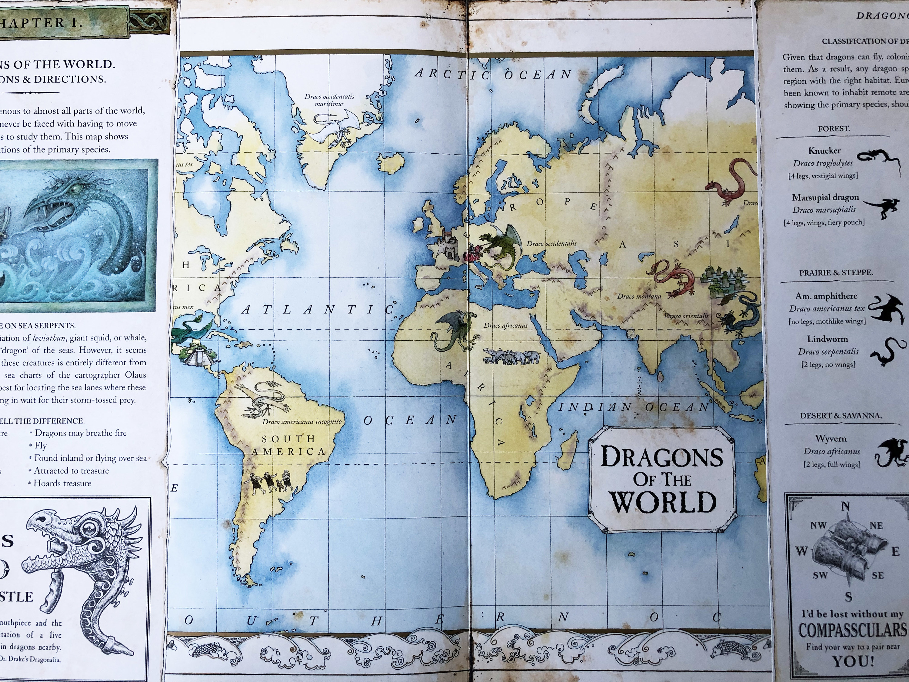 A page from Dragonology showing a map where different dragons are located