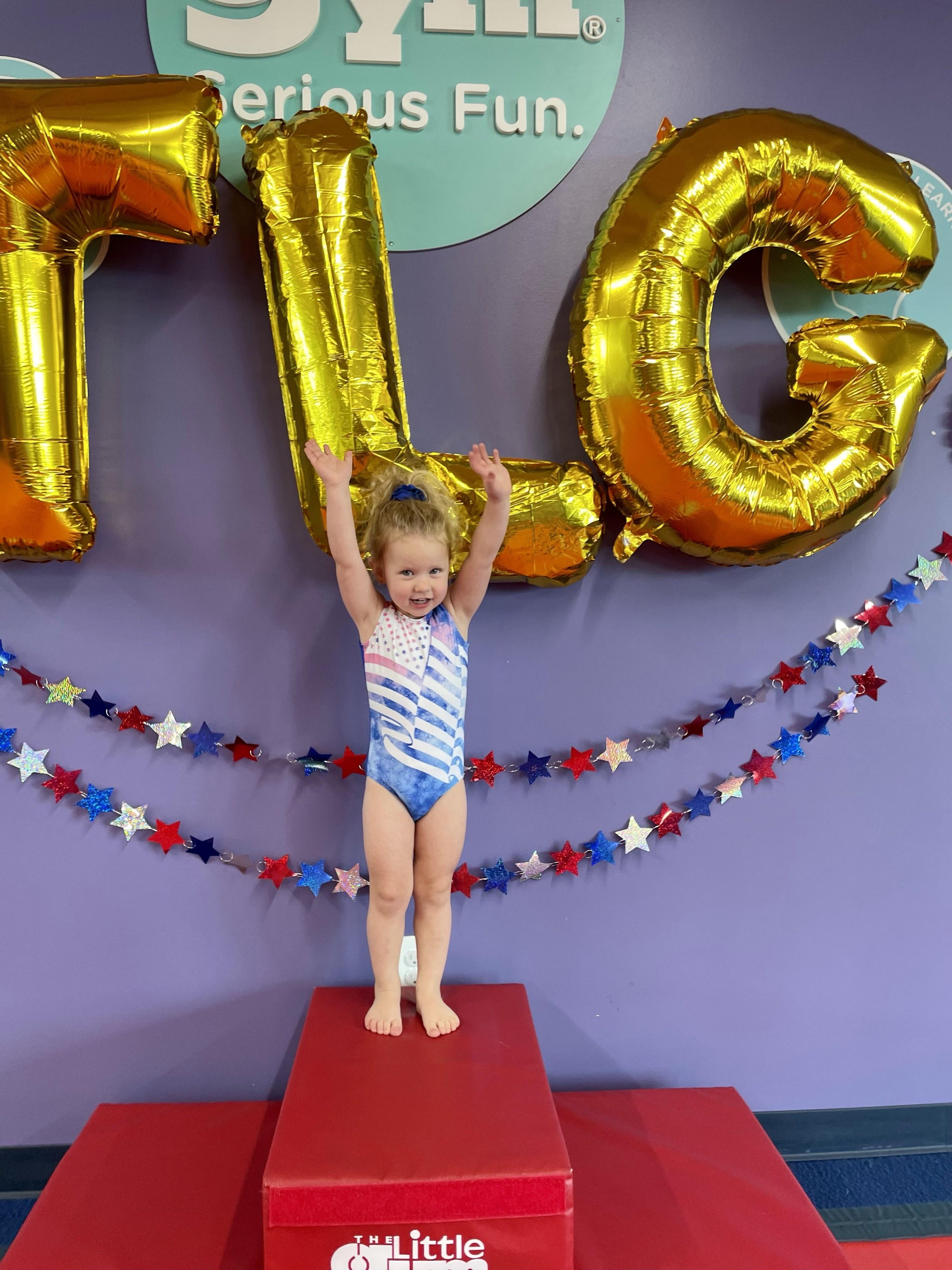 The author's daughter at gymnastics class
