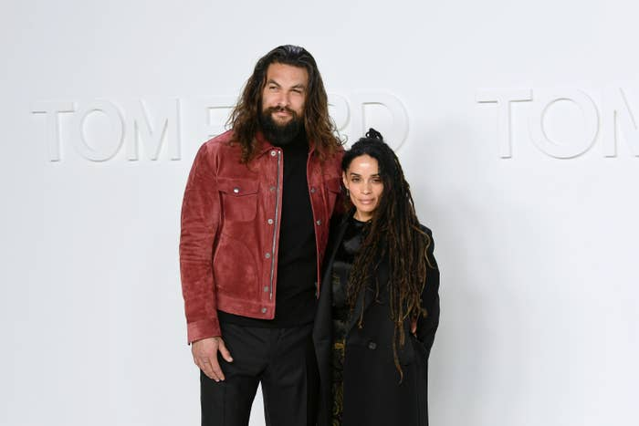 Jason Momoa and Lisa Bonet are photographed at a fashion show in 2020