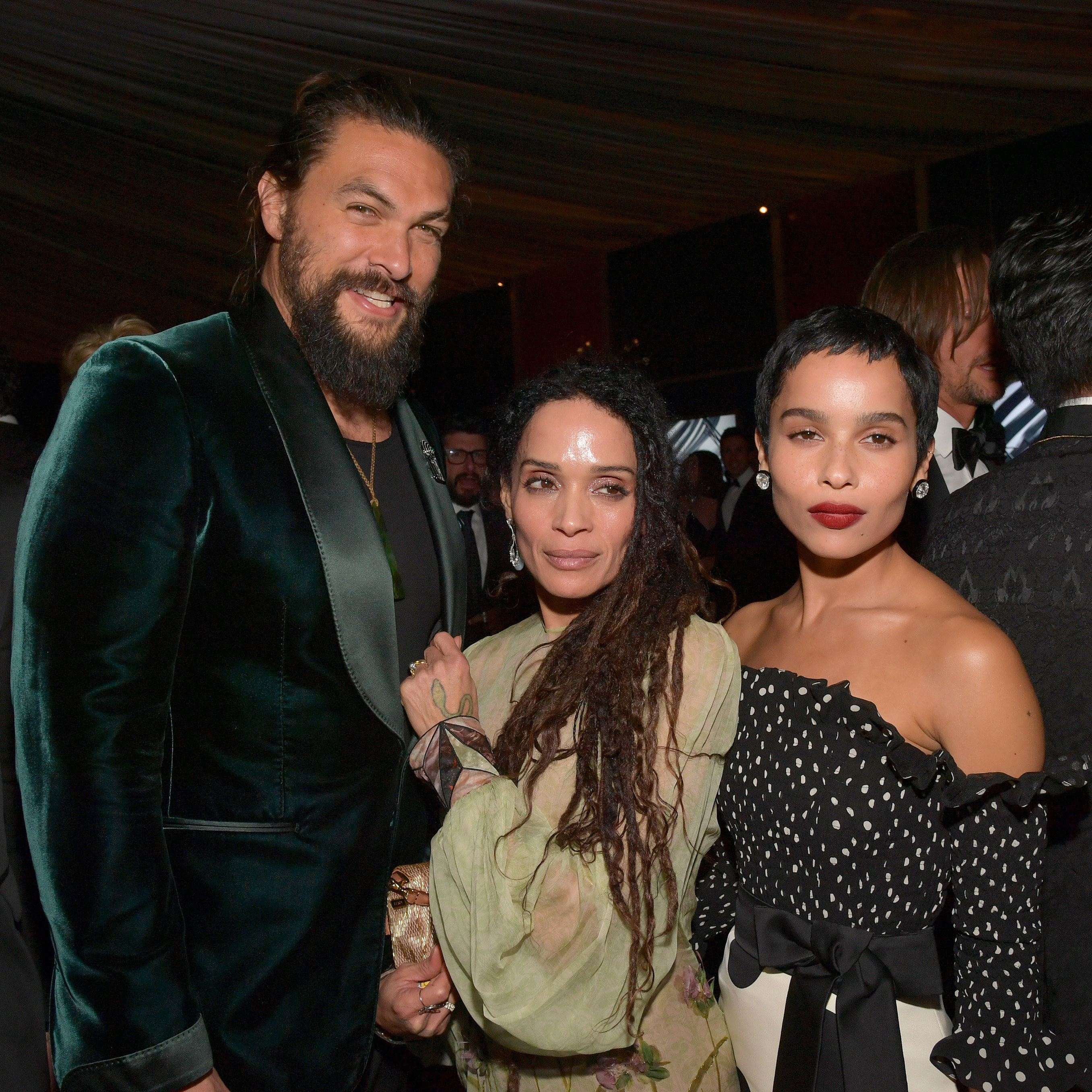 Jason Momoa, Lisa Bonet, and Zoë Kravitz are pictured at a Golden Globe Awards after party in 2020