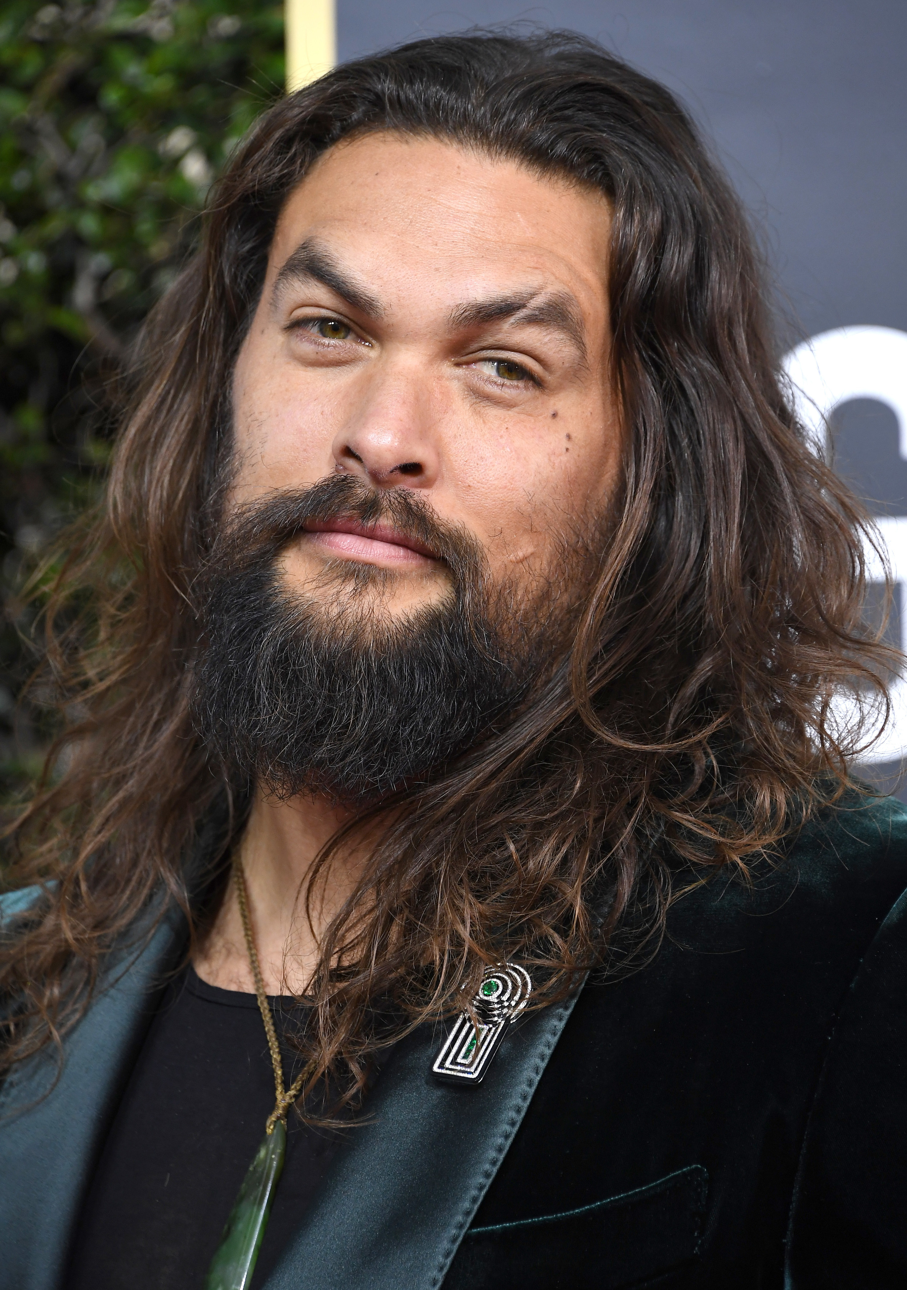 Jason Momoa is pictured on the red carpet at the Golden Globe Awards in 2020